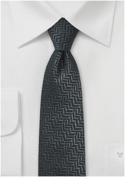Black Herringbone Wool Tie