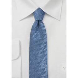 Steel Blue Herringbone Patterned Skinny Tie