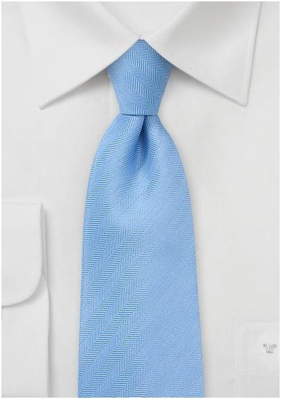 Herringbone Tie in Pastel Blue