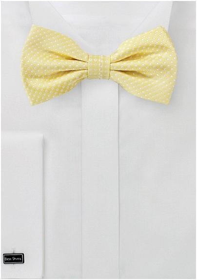 Vanilla Yellow Pin Dot Bow Tie