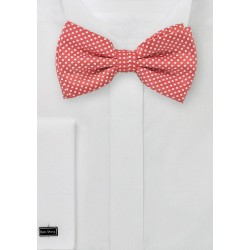 Coral Red Pin Dot Bow Tie