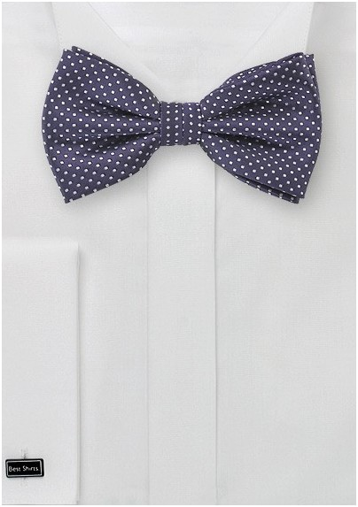 Pin Dot Bow Tie in Dark Eggplant Purple
