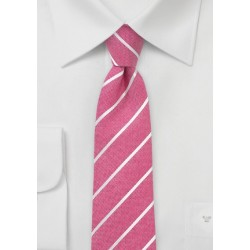 Coral Red Striped Skinny Tie