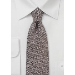Autumn Wool Tie in Brown with Herringbone Weave