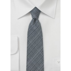 Chambray Wool Skinny Tie in Charcoal Gray
