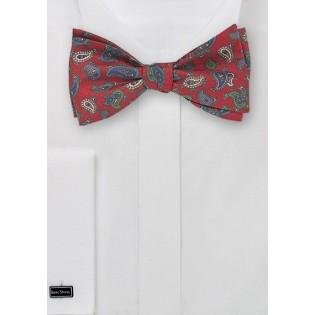 Self Tie Bow Tie with Vintage Paisley Print