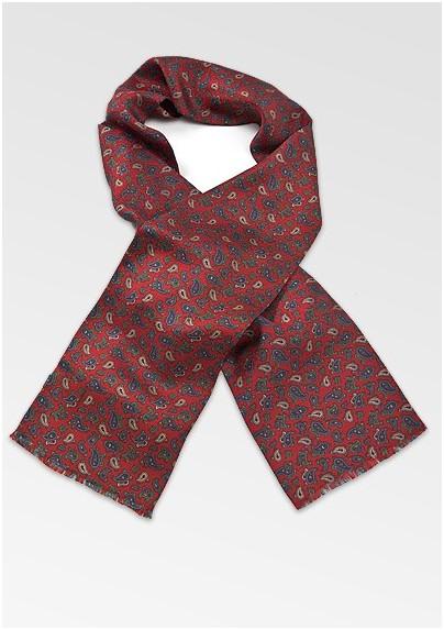 Elegant Silk Scarf with Vintage Paisley Print