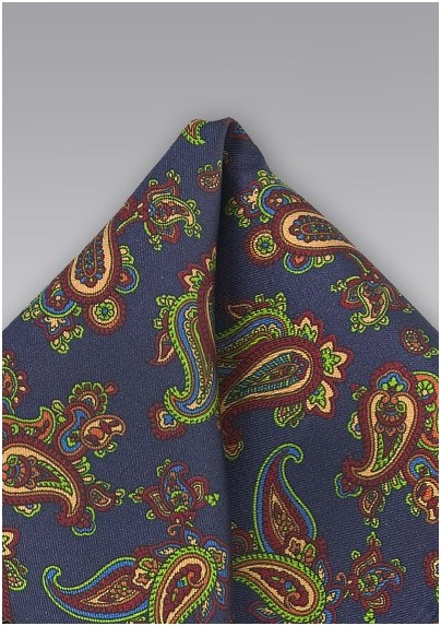 Elegant Paisley Silk Pocket Square