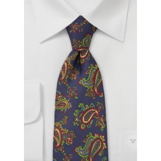 Designer Silk Tie with Vintage Paisley Print