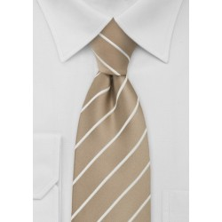 Beige Striped Tie for Kids