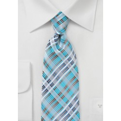 Modern Plaid Tie in Bright Aqua and Silver