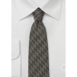 Wool Houndstooth Skinny Tie in Brown Tones