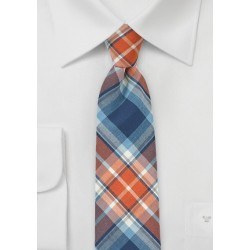 Tangerine and Blue Cotton Plaid Tie