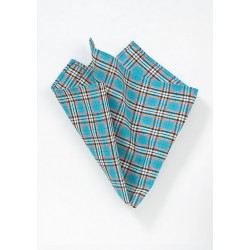 Plaid Pocket Square in Summer Turquoise