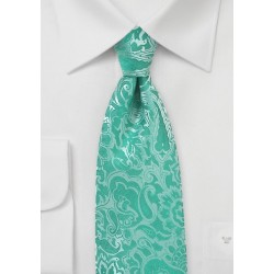 Mermaid Blue Summer Paisley Tie