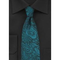 Elegant Paisley Tie in Peacock Teal
