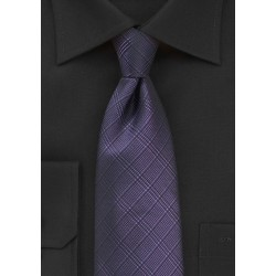 Plaid Necktie in Sweet Grape Color
