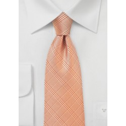 Plaid Necktie in Pastel Orange