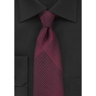 Trendy Plaid Designer Tie in Black and Rosewood