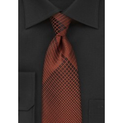 Bold Copper and Black Plaid Tie
