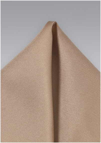 Solid Pocket Square in Light Brown