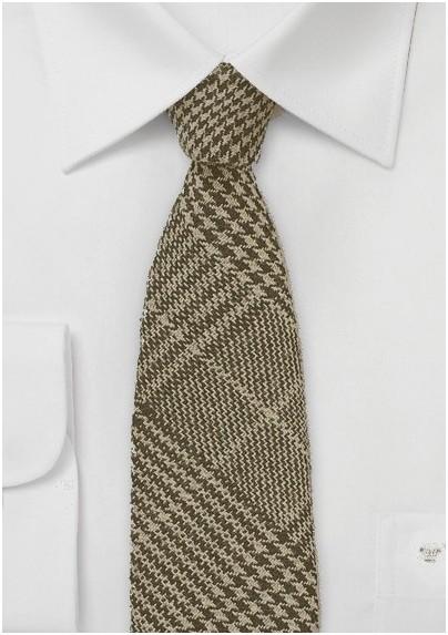 Wool Tweed Tie in Brown