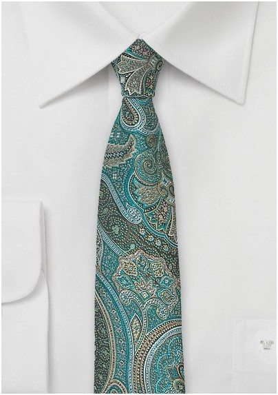 Autumn Paisley Tie in Jade Green