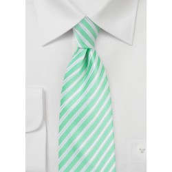 Striped Necktie in Spring Bud Green