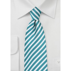 Striped Necktie in Tile Blue
