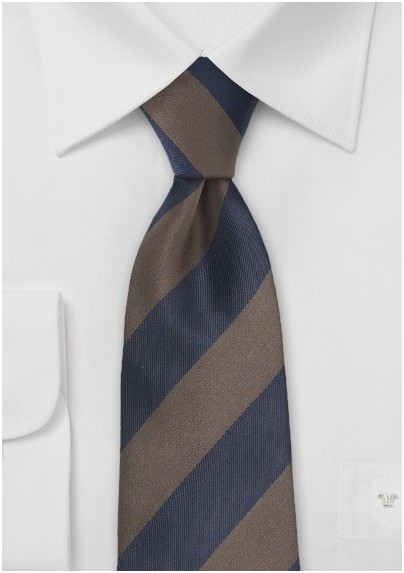 Chocolate Brown and Navy Striped Tie