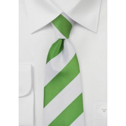 Wide Striped Tie in Lime and White
