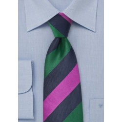 Striped Tie in Navy, Hunter Green, Fuchsia