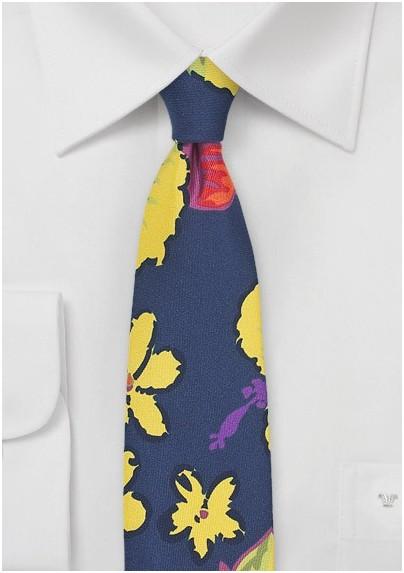Hawaiian Hibiscus Floral Tie in Navy
