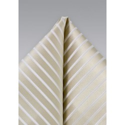 Champagne Hued Striped Silk Pocket Square