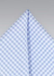 Sky Blue Gingham Check Pocket Square