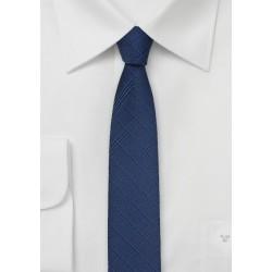 Skinny Check Tie in Patriot Blue