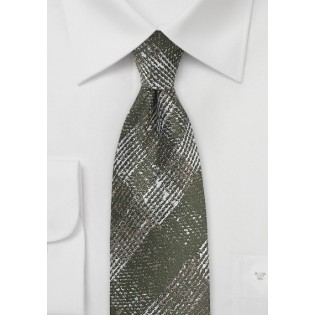 Faded Plaid Wool Tie in Moss Green