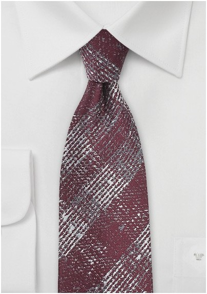 Textured Plaid Tie in Cabernet Red