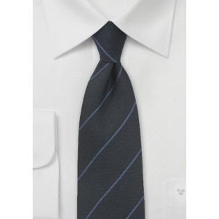 Wool Pencil Stripe Tie in Black and Blue