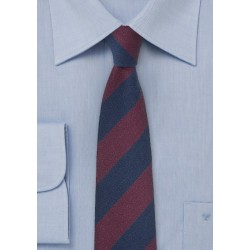 Striped Wool Tie in Navy and Burgundy