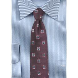 Medallion Skinny Tie in Wine Red