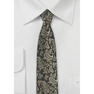 Dark Green Paisley Silk Tie