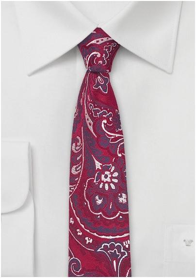 Slim Cut Paisley Tie in Bold Red