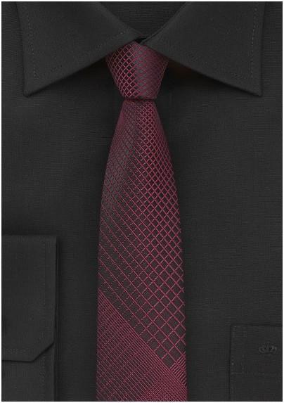 Trendy Skinny Plaid Tie in Black and Rosewood