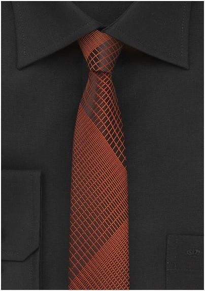 Black Skinny Tie with Copper Plaid