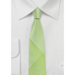 Daiquiri Green Skinny Tie with Plaids