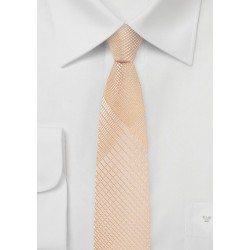 Skinny Plaid Tie in  Peach Parfait