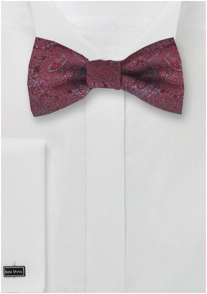 Red and Gray Paisley Bow Tie