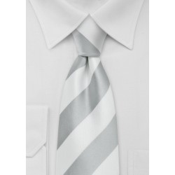 Wide Striped XL Length Tie in Silver and White