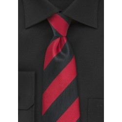 Bold Striped Kids Tie in Black and Red